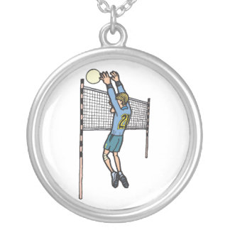 volleyball spike mens volley cartoon graphic necklace