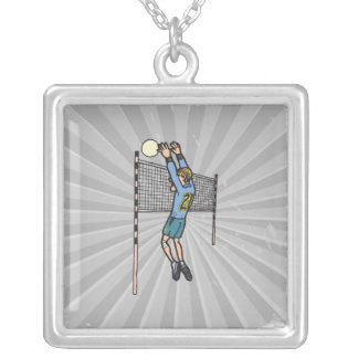 volleyball spike mens volley cartoon graphic pendant
