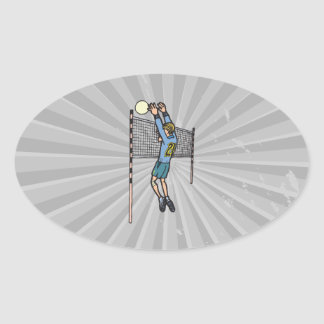 volleyball spike mens volley cartoon graphic oval sticker