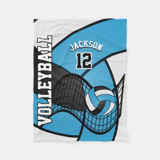 Volleyball Sport in Baby Blue, White & Black Fleece Blanket