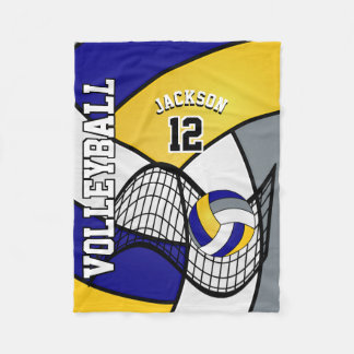 Volleyball Sport in Blue, White and Yellow Fleece Blanket