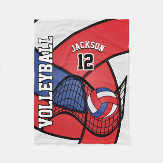 Volleyball Sport in Red, White and Blue Fleece Blanket
