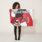 Volleyball Sport in Red, White & Black Fleece Blanket