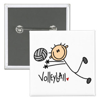 Volleyball Stick Figure Button