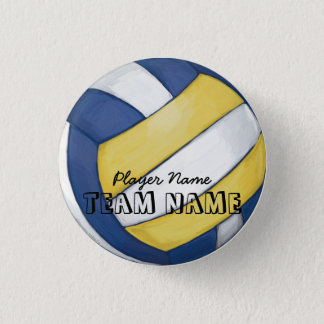 Volleyball Team Name and Number 3 Cm Round Badge