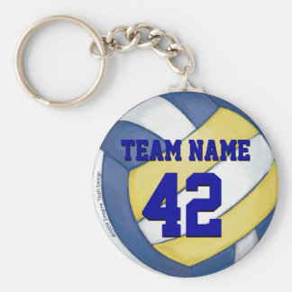 Volleyball Team Name and Number Basic Round Button Key Ring