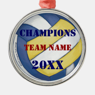 Volleyball Team Name and Number Silver-Colored Round Decoration