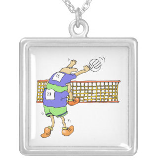 Volleyball team square pendant necklace