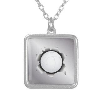 volleyball thru metal sheet custom necklace