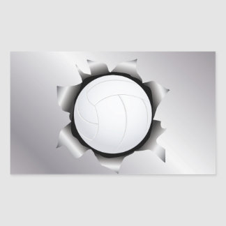 volleyball thru metal sheet rectangular sticker