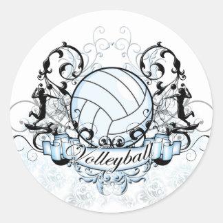 Volleyball Tribal Round Sticker