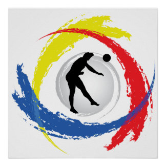 Volleyball Tricolor Emblem (Male) Poster