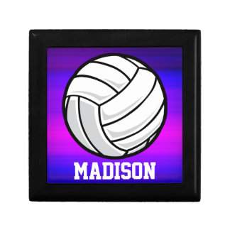 Volleyball; Vibrant Violet Blue and Magenta Trinket Boxes