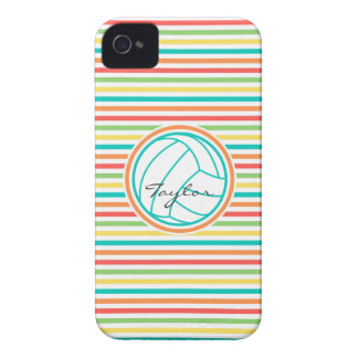 Volleyball with Name Bright Rainbow Stripes iPhone 4 Cases