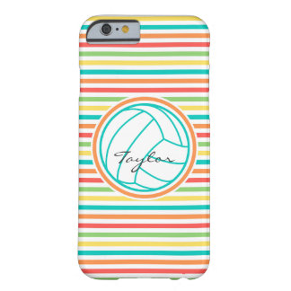 Volleyball with Name; Bright Rainbow Stripes Barely There iPhone 6 Case