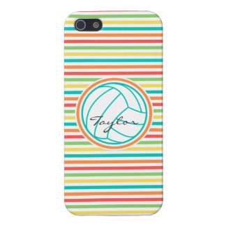 Volleyball with Name Bright Rainbow Stripes Case For iPhone 5