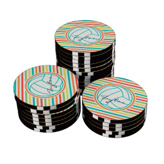 Volleyball with Name; Bright Rainbow Stripes Poker Chips