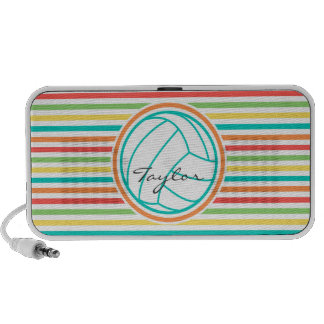 Volleyball with Name Bright Rainbow Stripes iPhone Speaker