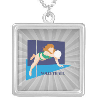volleyball womens girls square pendant necklace