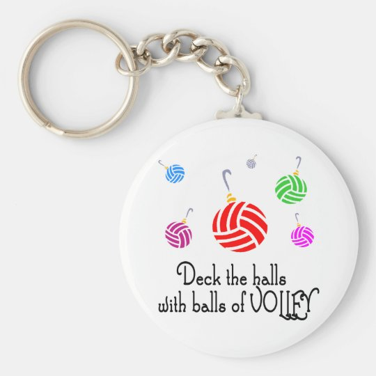 VolleyChick Deck the Halls Basic Round Button Key Ring