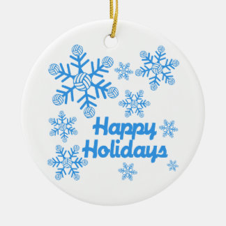 VolleyChick Happy Holidays Snowflake Christmas Ornament