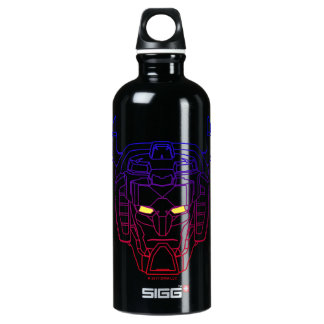 Voltron | Blue-Red Gradient Head Outline Water Bottle