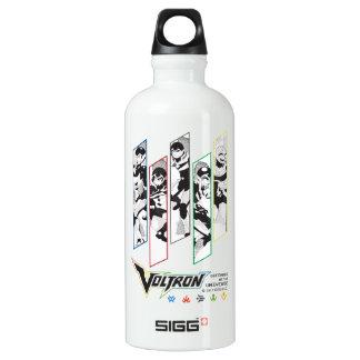 Voltron   Classic Pilots Halftone Panels Water Bottle