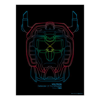 Voltron | Pilot Colors Gradient Head Outline Poster