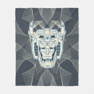 Voltron | Voltron Head Blue and White Outline Fleece Blanket