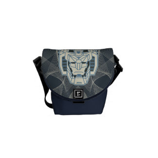 Voltron | Voltron Head Blue and White Outline Messenger Bags