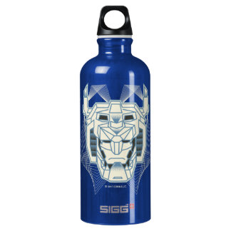 Voltron | Voltron Head Blue and White Outline Water Bottle