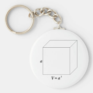 Volume of a Cube Basic Round Button Key Ring