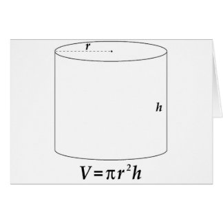 Volume of a Cylinder Greeting Card
