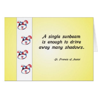 Volunteer Appreciation Dog Face and Sunbeam Quote Greeting Card