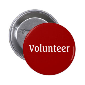 Volunteer Button - White on Red