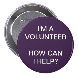 VOLUNTEER BUTTONS PINS | PURPLE WHITE