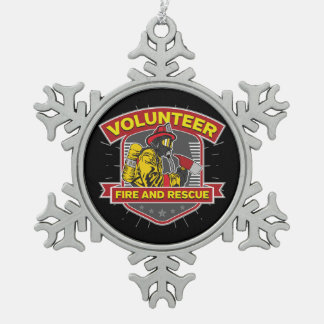 Volunteer Fire and Rescue Pewter Snowflake Decoration