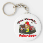 Volunteer Fire Fighters Basic Round Button Key Ring
