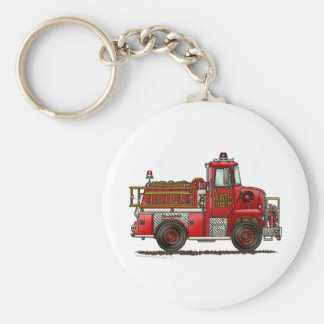 Volunteer Fire Truck Firefighter Basic Round Button Key Ring