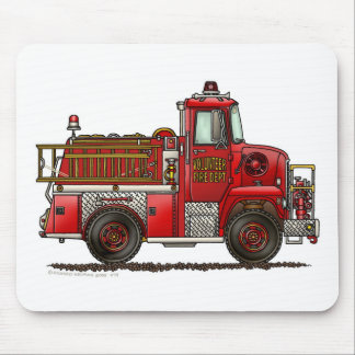 Volunteer Fire Truck Firefighter Mouse Mat