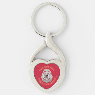 Volunteer Firefighter Badge Silver-Colored Twisted Heart Key Ring