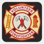 Volunteer Firefighter Maltese Cross Square Stickers