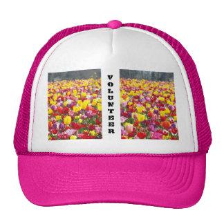 VOLUNTEER Hats Pink Trucker's Hat Tulips