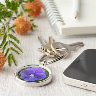 Volunteer Purple Pansy Silver-Colored Round Key Ring