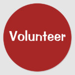 Volunteer Stickers - White on Red