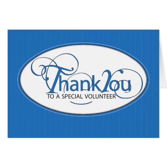 Volunteer Thank You Blue Script Card