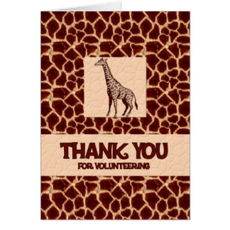 Volunteer Thank You in Giraffe Animal Print Greeting Card