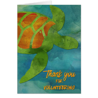 Volunteer Thanks Sea Turtle or MarineConservation Card