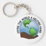 Volunteers are the world's helping hands basic round button key ring