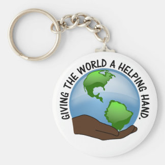 Volunteers are the world's helping hands key ring